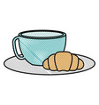 coffee cup hot with bread vector image vector image