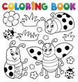 coloring book ladybug theme 1 vector image