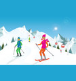 couple skiing in the mountains against blue sky vector image vector image