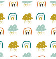cute doodle pattern with rainbows and vector image