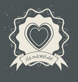 emblem heart shape with ribbon decoration design vector image vector image