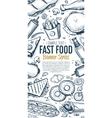 Fast food doodles vertical banner menu vector image vector image