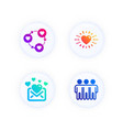 friends community love mail and heart icons set vector image vector image