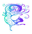 funny fairy tale psychedelic silhouette of a cat vector image vector image