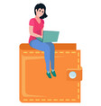 girl sitting on top wallet girl laptop vector image
