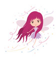 girly fairy flying with wings and long hair vector image vector image