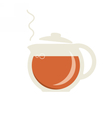 Glass teapot with hot tea icon vector image vector image