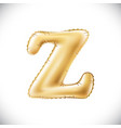 golden letter z made of inflatable balloon vector image vector image