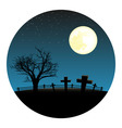 graveyard with moon vector image
