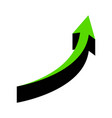 growing arrow sign green 3d icon with vector image