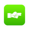 hand showing two fingers icon digital green vector image