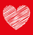 heart white scribble with lines texture on red vector image vector image