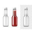 ketchup glass bottles realistic set vector image vector image