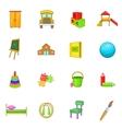 Kindergarten security icons set cartoon style vector image