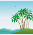 landscape sea island with palm vector image vector image