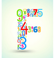 Letter F colored font from numbers vector image