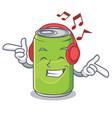 listening music soft drink character cartoon vector image