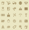 logistics line icons on brown background vector image vector image