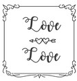 love love heart arrow square frame white backgroun vector image