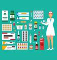 medicine pharmacy hospital set medicines vector image vector image