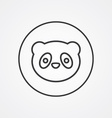 panda outline symbol dark on white background logo vector image