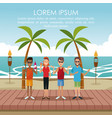 people at beach vector image