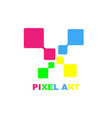pixel art logo design template eps 10 vector image
