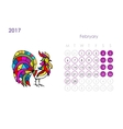 Rooster calendar 2017 for your design February vector image