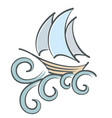 sailing vessel with waves vector image