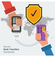 Secure bank transfers worldwide vector image vector image