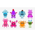 Set of cheerful and terrible monsters ghosts vector image vector image