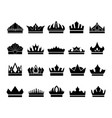 set of elegant crown icons on white background vector image