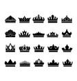 Set of elegant crown icons on white background