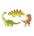 set with different types of dinosaurus vector image