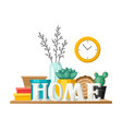 shelf with home decor vase picture and plant vector image vector image