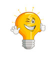 shining yellow smiling light bulb vector image vector image