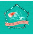 Shrimp silhouette nautical accessory vector image vector image