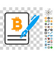 sign bitcoin contract icon with bonus vector image vector image