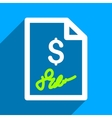 Signed Invoice Flat Square Icon with Long Shadow vector image vector image