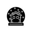 snow globe with house black icon sign on vector image