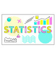 statistics card with charts and graphs collection vector image