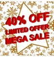 Winter sale poster with LIMITED OFFER MEGA SALE 40 vector image vector image