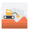 with scene of excavator in action vector image