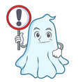 with sign cute ghost character cartoon vector image