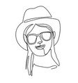 woman in hat and sunglasses smiling one line art vector image