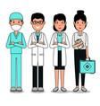 medical center professional team cartoon vector image