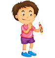 a boy holding pencil cartoon character isolated vector image