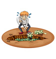 A man digging the money in the pit vector image vector image