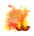 awesome diwali festival wishes with watercolor vector image vector image