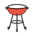 bbq grill front view color sections silhouette vector image vector image